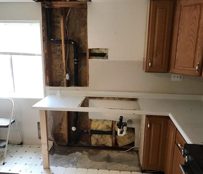This is a job SERVPRO did due to a frozen pipe in kitchen - image of kitchen under construction
