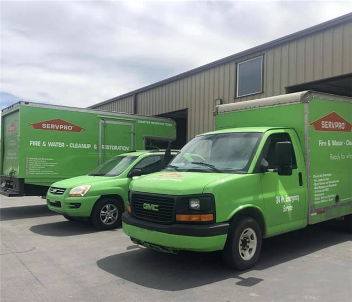 SERVPRO vehicles outside our building.