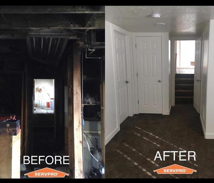 Before and after of a house fire SERVPRO cleaned up.