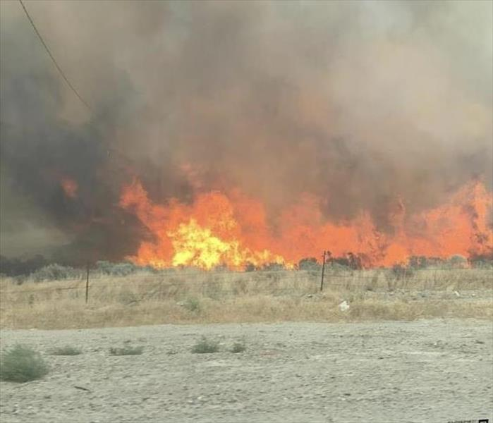Wildfire with large flames