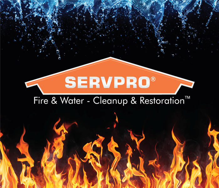 SERVPRO logo and fire and water